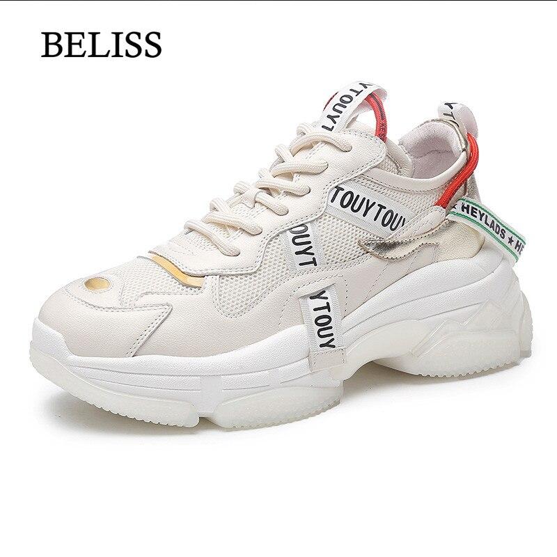 low priced 65eff 82205 2019 Primavera Cuero Genuino Planos Las Moda Plataformas White Beliss P45  Zapatos beige Zapatillas Mujeres Mujer ...
