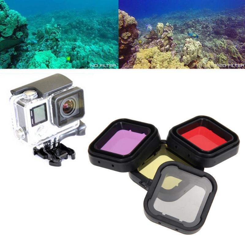 4PCS Waterproof Sports Camera Case Underwater Diving Filter Lens Cover UV Filter For GoPro Hero 4 3+ Housing Case