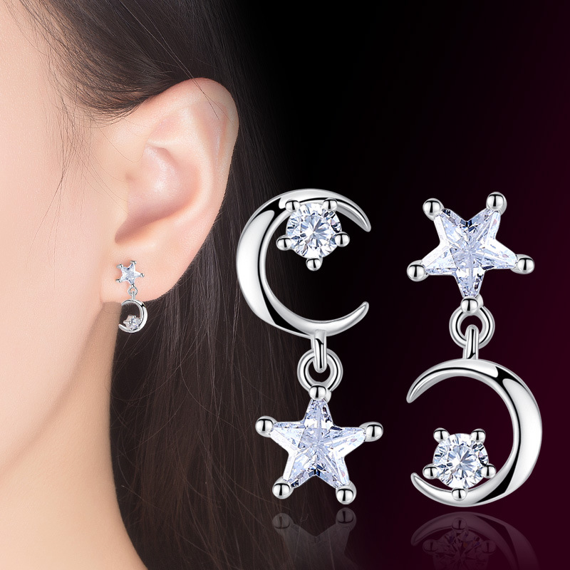 Luxury Star Moon Bridal Wedding Stud Earrings AAA CZ Crescent Jewellery Christmas Gifts for Women Accessories Brinco