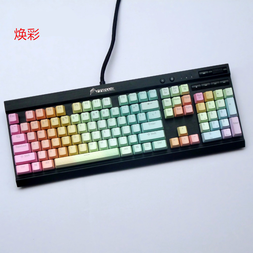 PBT Dip-dye Double Color Translucent Keycaps Mechanical Keyboard Key cap For Corsair K65 K70 Logitech G710+ OEM HeightPBT Dip-dye Double Color Translucent Keycaps Mechanical Keyboard Key cap For Corsair K65 K70 Logitech G710+ OEM Height