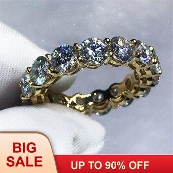 7846f993a410 3 colores amantes infinito banda anillo de Plata de Ley 925 de los anillos  de boda para las mujeres los hombres 4mm AAAAA de cristal de circón bijoux