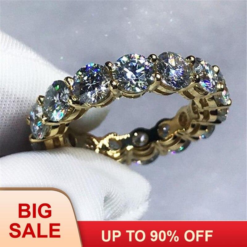 3 couleurs amoureux infini bande anneau 925 en argent Sterling fiançailles anneaux de mariage pour femmes hommes 4mm AAAAA zircon cristal Bijoux