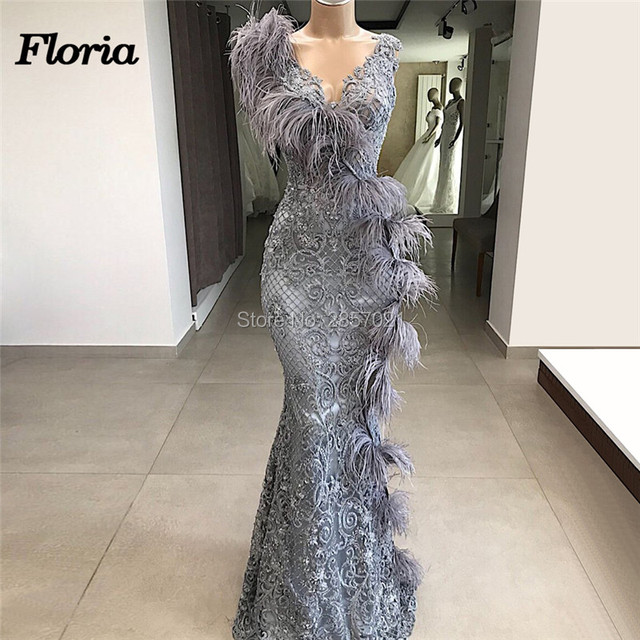 c31631a8d819c US $262.7 29% OFF|Couture Dubai Feathers Formal Evening Dresses  Abendkleider Arabic Couture New Prom Dress For Weddings Robe de soiree  Party Gowns-in ...