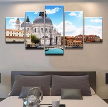 Modern Artwork 5 Panel Building Italy Place Venice Canvas Painting Printed HD Picture For Living Room Wall Art Decorative