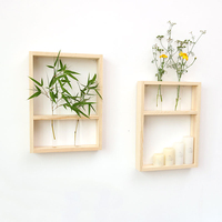 Nordic Style Wall Hanging Decor Clear Glass Test Tube Flower Vase with Wooden Frame for Home Tabletop Decor Decorative Shelf