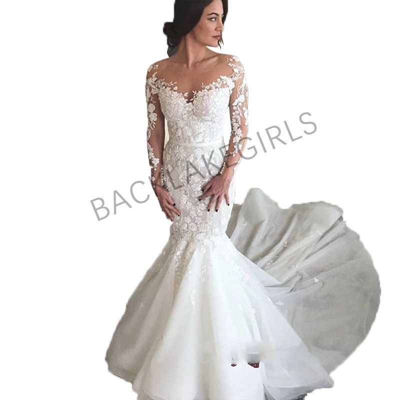 Mermaid Style Lace Wedding Gowns: New Gorgeous Lace Tulle Wedding Dress Mermaid Style Long