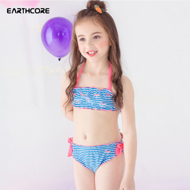 1ee67930fad New Girls Two Pieces Bikini Set Print Striped Swimwear Sweet Cute Lovely Children  Bathing Suit Summer Swimsuit For Girl Age 2-12