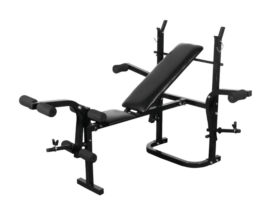 VidaXL Indoor Multifunction Fitness Equipment Sit Up Bench Adjustable Crunch Board Barbell Rack Steel Weightlifting Training