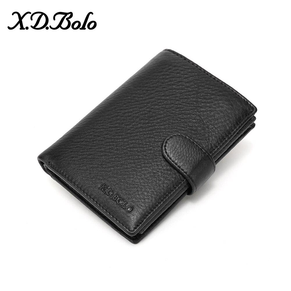 X.D.BOLO Genuine Leather Wallet Men Coin Purse Male Clutch Walet Portomonee  Mens Money Bag Card Holder Wallets for Men