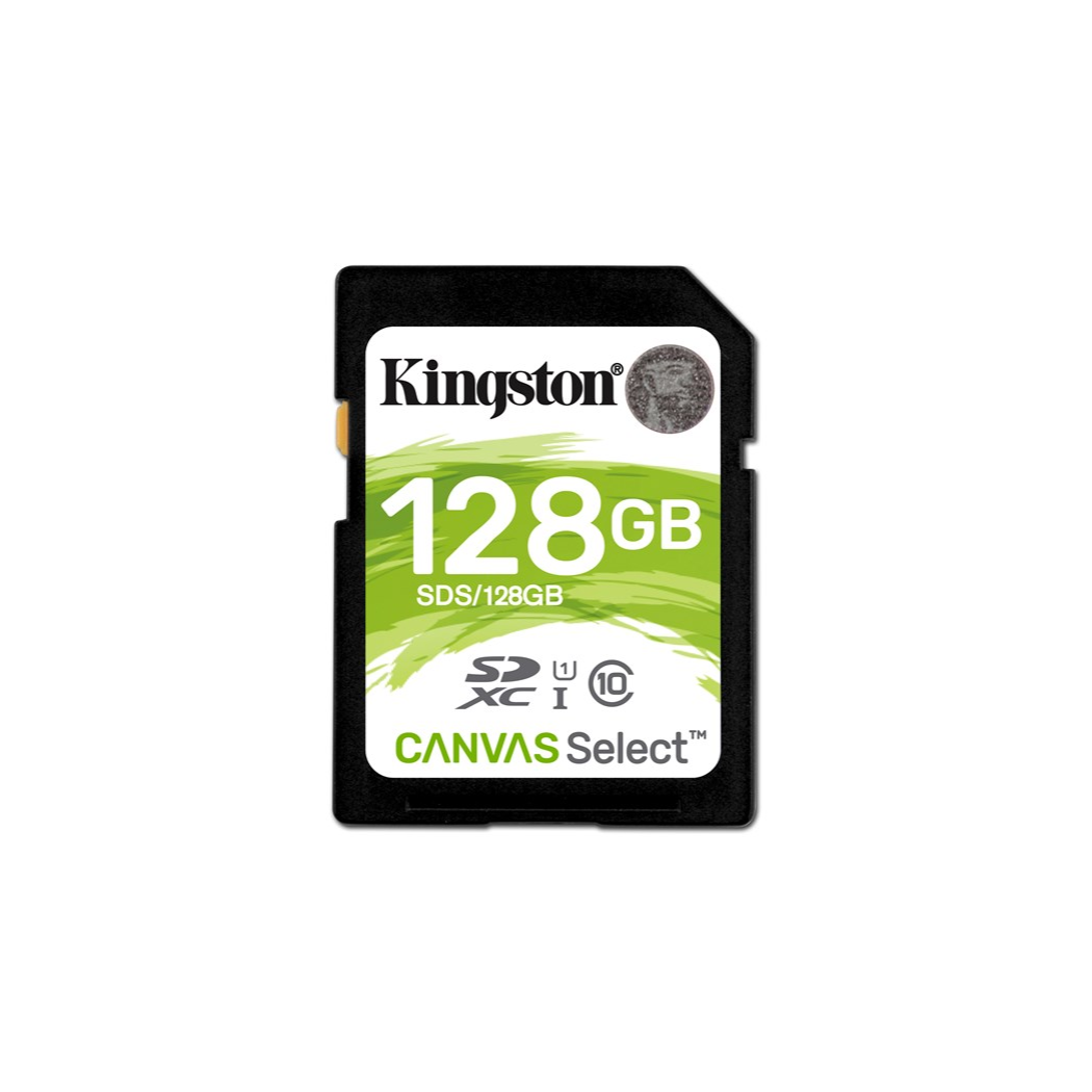 Kingston Technology Canvas Select, 128 GB, SDXC, Class 10, UHS-I, 80 MB/s, Black