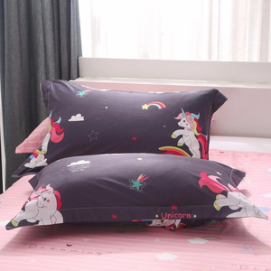 Image 5 - Cartoon Unicorn Bedding Sets Colorful Rainbow and Cloud Pattern Duvet Cover Set Striped Bed Sheet Pillowcases