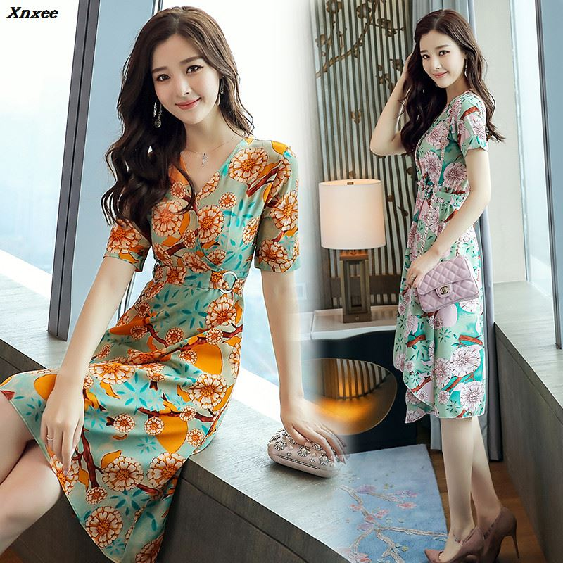 Summer 2018 Print Floral Long Beach Dress Women Sundress Sexy V neck Casual Slim Elegant Vintage Ladies Chiffon Party Dresses in Dresses from Women 39 s Clothing