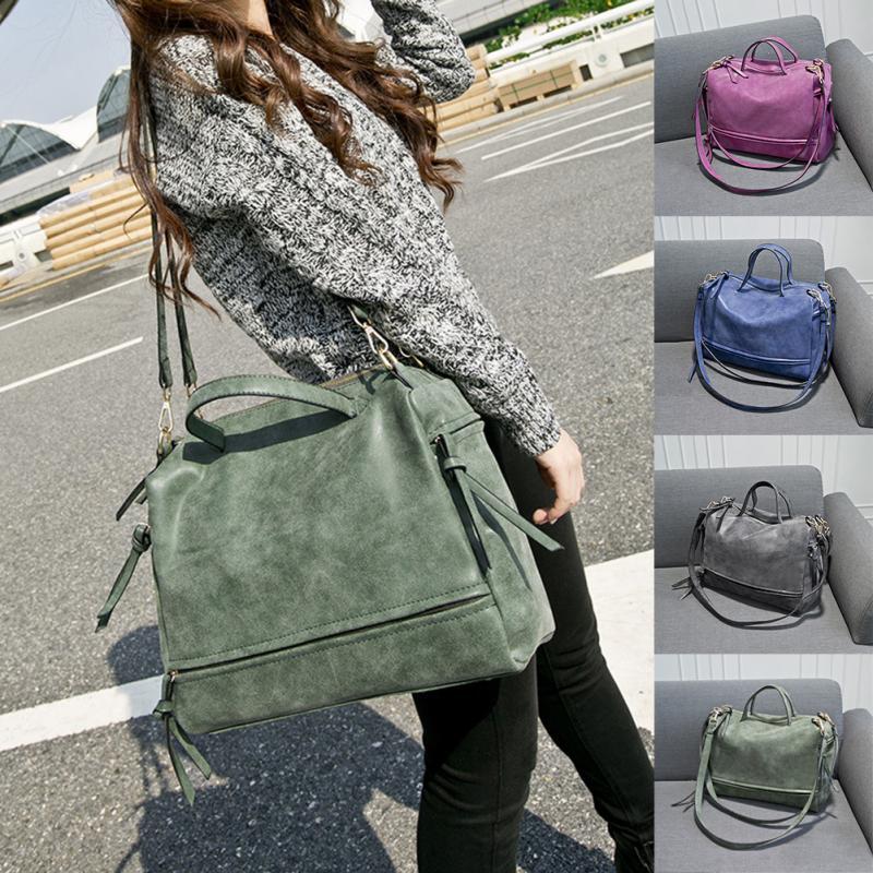 Women Messenger crossbody Bag Matte Leather Nubuck Leather Handbag Vintage Solid tote Single Shoulder Bag* 1
