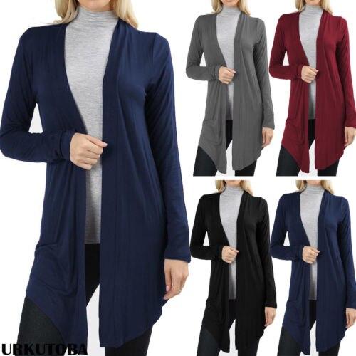 Women Autumn Long Sleeve Slim Cardigan Coats Ladies Open Solid Casual Tops Coat Outwear