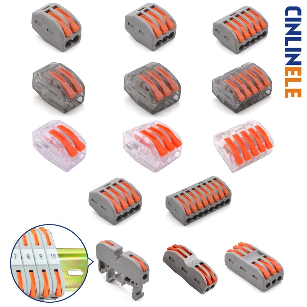 Mini Fast Universal Compact Wire Wiring Car Connector Conductor Terminal Block 222-412 222-413 222-415 PCT212 213 215 221