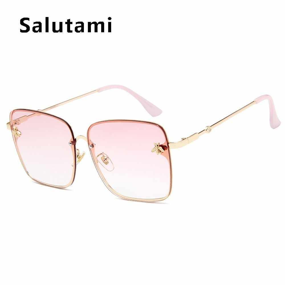 Retro Square Bee Sunglasses Women Brand Designer Metal Frame Oversized Sun Glasses Fashion Men Gradient Shades Oculos UV400