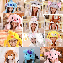 In Stock Cartoon Rabbit / Stitch Plush Hat With Ears Funny A