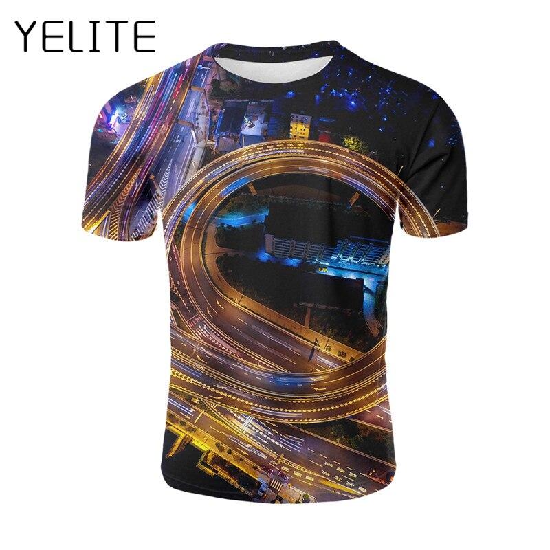 T-shirts Purposeful Yelite Latest Summer Night View Of City 3d Print T Shirts Print Men T-shirt Casual Flyover/ferris Wheel/fireworks/seaside Tops