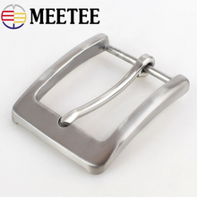 Meetee 40mm Wide Solid Stainless Steel Belt Buckle Brushed Pin Metal Cowboy Head Mens Jeans Accessory for 38mm