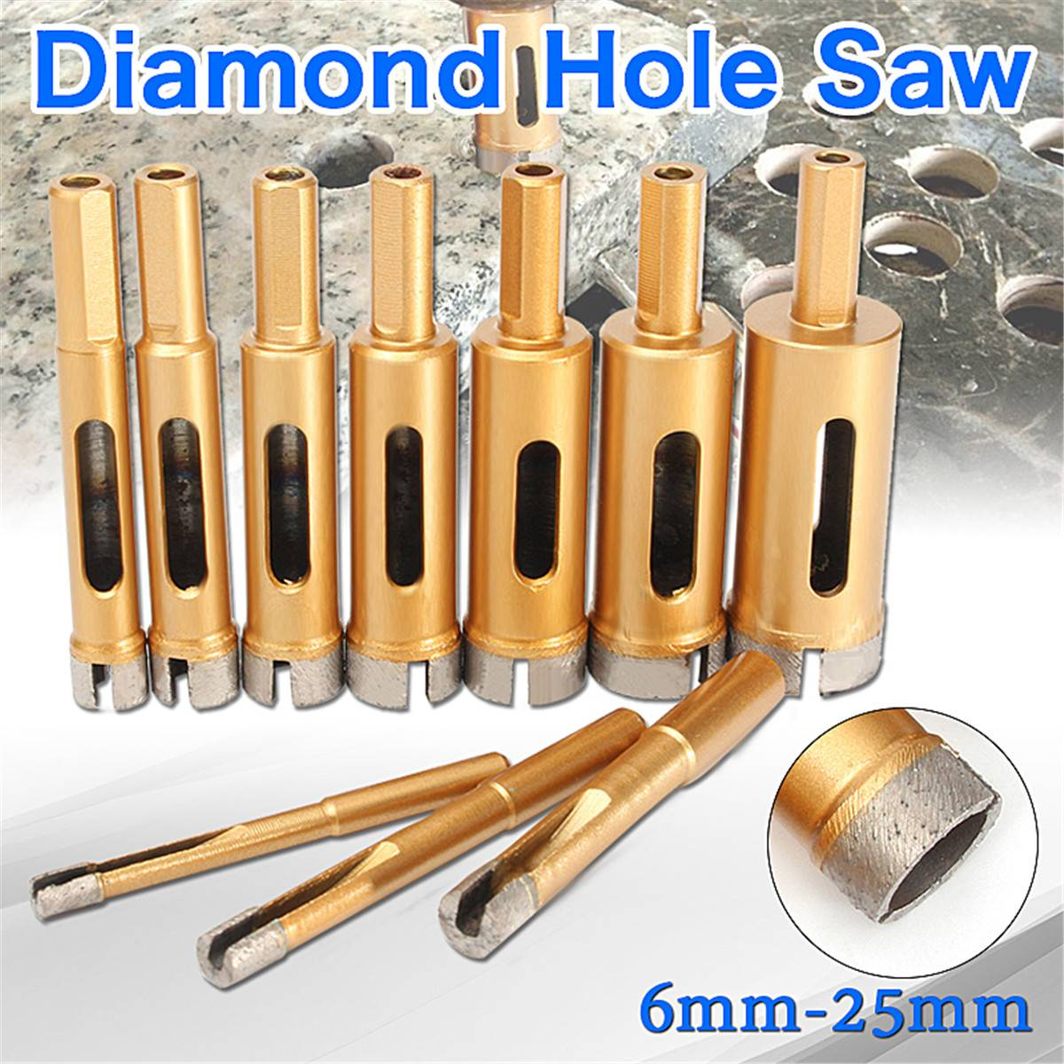 6mm-25mm Diamond Drill Bit Hole Saw Tile Glass Marble Glass Hole Cutter for Marble Granite Tile Ceramic Glass6mm-25mm Diamond Drill Bit Hole Saw Tile Glass Marble Glass Hole Cutter for Marble Granite Tile Ceramic Glass