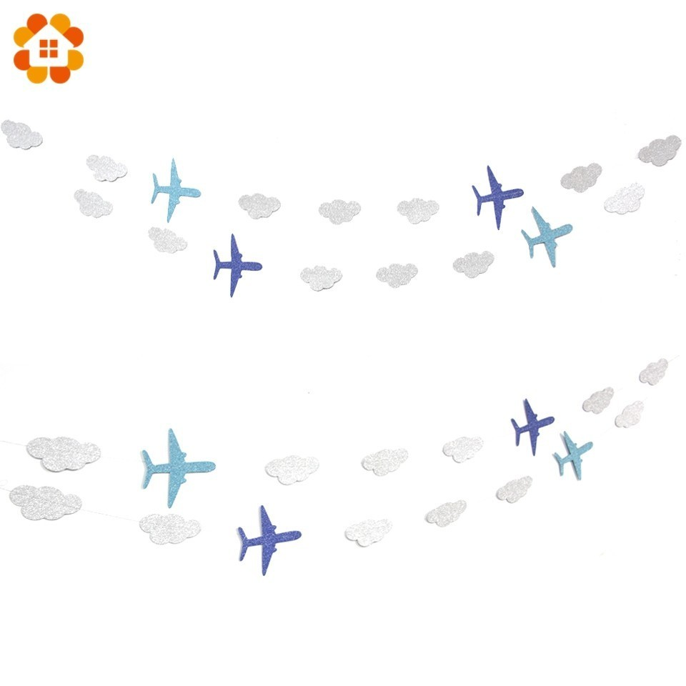 1PC Cloud&Plane Banners Baby Showers Party Garlands Decoration Kids Birthday Happy Hanging Background Garlands Party Supplies
