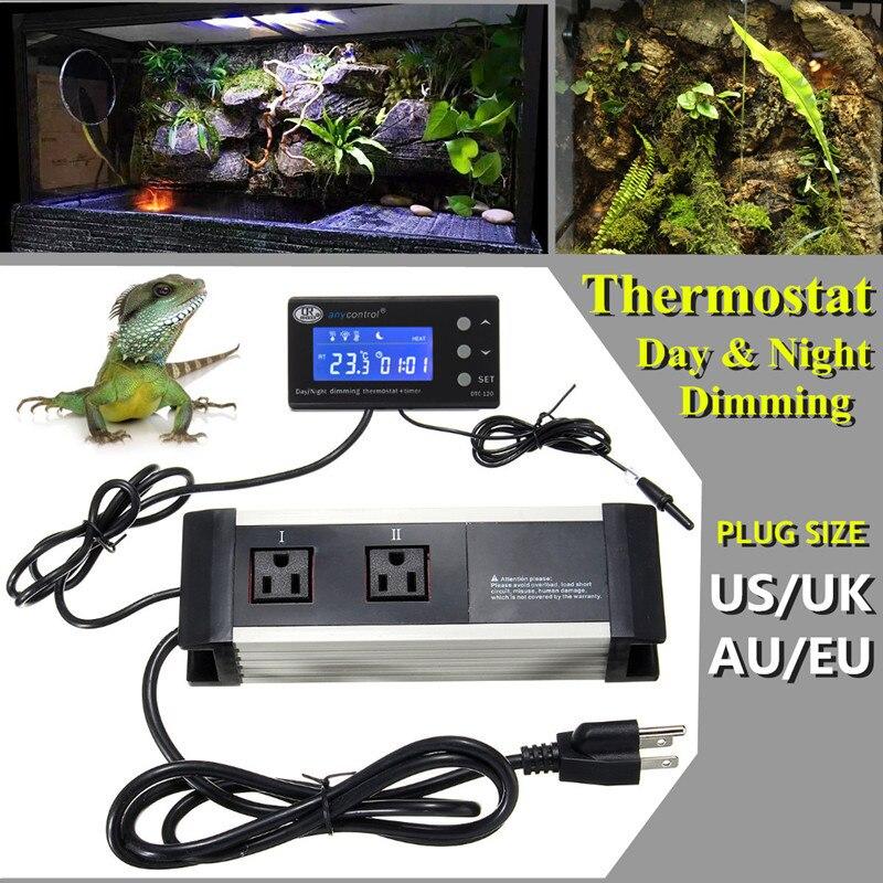 Mising Thermostat Temperature Controller Day And Night Dimming For Reptile Aquarium Tank 110/220V AU/UK/EU/US Plug