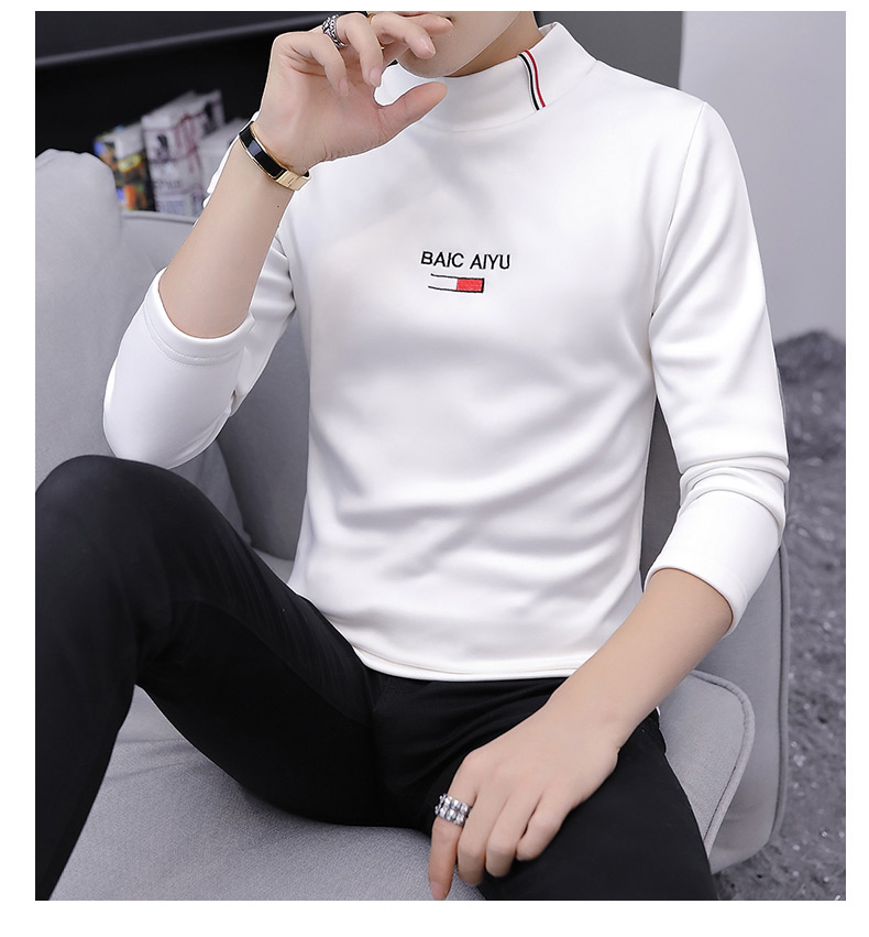 Long-sleeved, Men's High-collar Winter With Fleece And Thickened Bottom