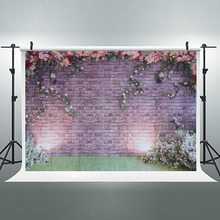 Decorative Romantic Brick Wall Flowers Birthday Party Vinyl Photography Background Wedding Decorations Backdrops For Studio