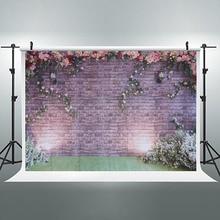 Dekoratif Romantik Tuğla Duvar Çiçekler Doğum Günü Partisi Vinil Fotoğraf Arka Plan Düğün Süslemeleri Arka Planında Stüdyo