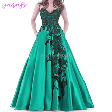 YNQNFS P53 Satin Lace Appliques Sweetheart Long Plus Size Emerald Green  Prom Dress 2019(China 3ead32ebb842