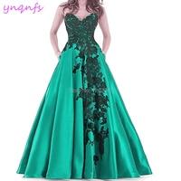 YNQNFS P53 Satin Lace Appliques Sweetheart Long Plus Size Emerald Green Prom Dress 2019