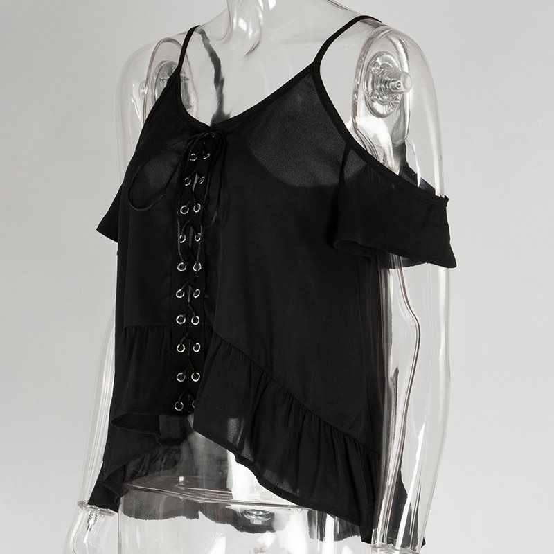Для женщин ремень блузка на шнуровке готический с открытыми плечами Топы корректирующие спинки Street повседневное Лето 2019 оборками девушка черны