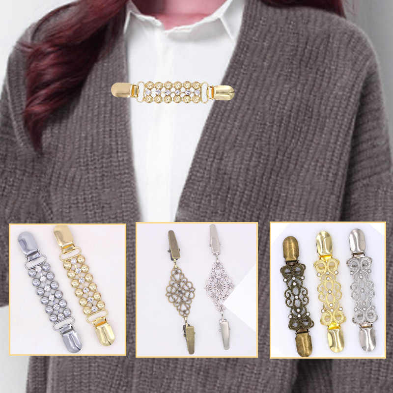 1PC Sweater Crystal Duck Clip Vintage Cardigan Clip For Women Girls Shawl Blouse Collar Shirt Retro Brooch Valentines Gift