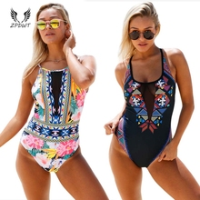 2017 New Arrical Sexy Monokini Mesh One Piece Swimwear Swimsuit Backless Padded Bathing Suit Strappy Sport Wear Floral Print