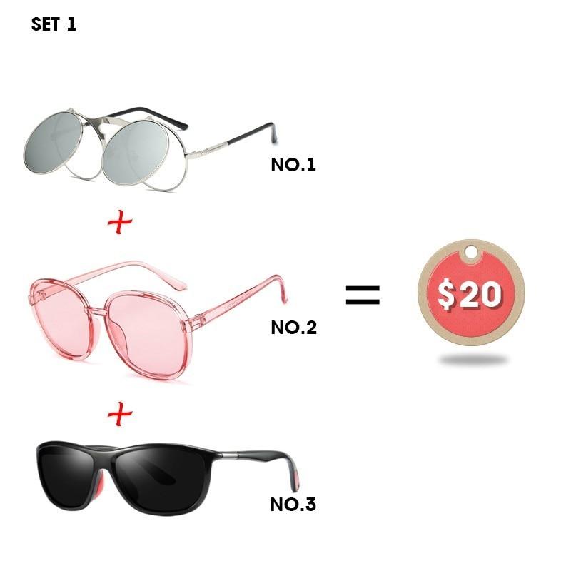 Модные солнцезащитные очки с клипсой для пары, мужские поляризованные очки для вождения, женские прозрачные очки, 3 предмета, комбинация, 20 д