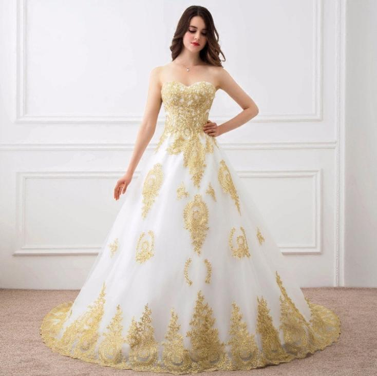 VENSANAC Strapless Gold Lace Appliques Ball Gown Wedding Dresses Off The Shoulder Sweep Train Backless Bridal Gowns