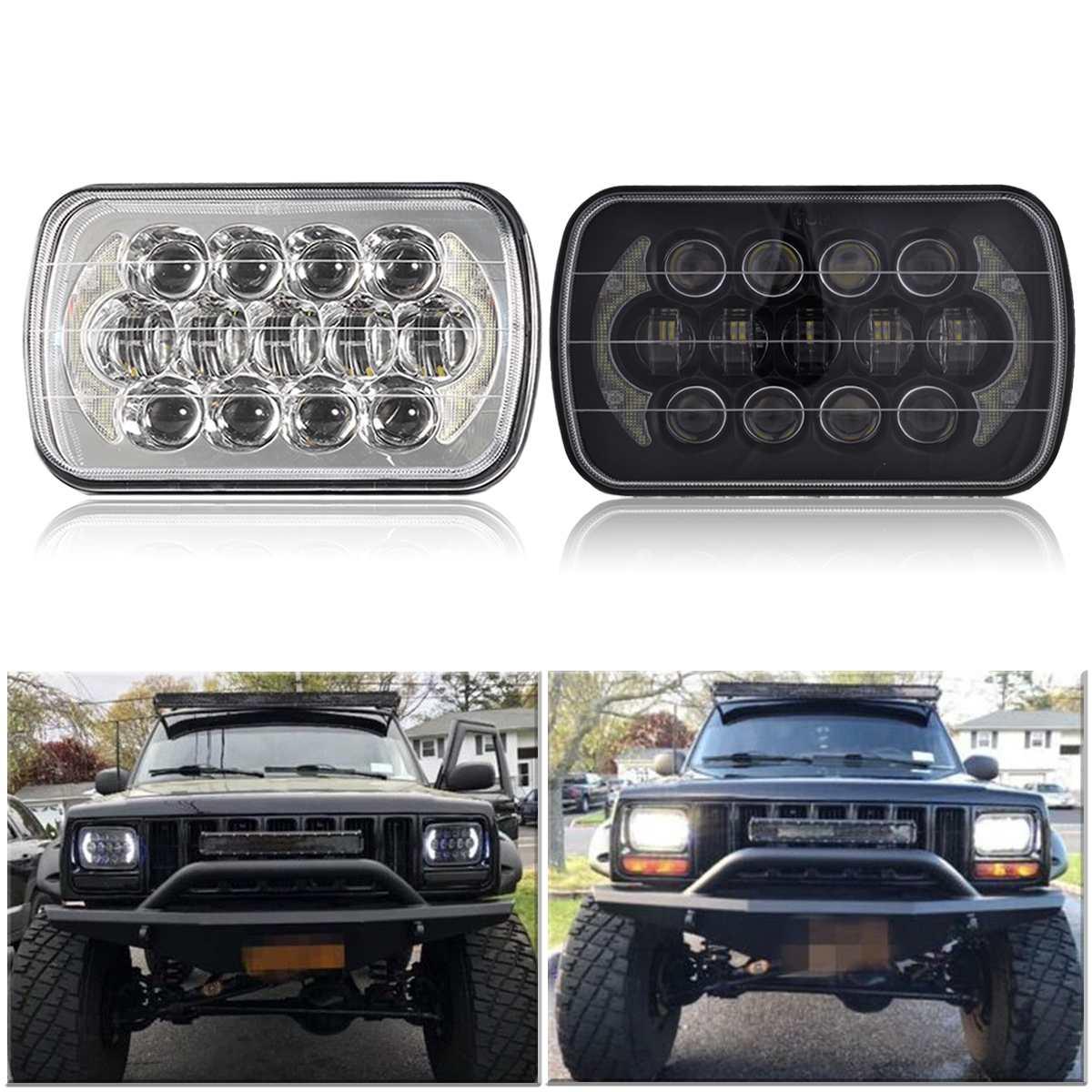 5 Inch X 7 inch Car Truck Off Road LED Spot Flood Work Head light Bars for Jeep Cherokee 1984 2001 XJ Trucks IP67 85W