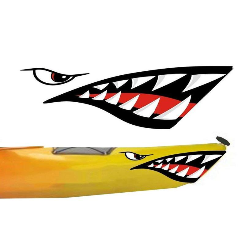 2pcs Waterproof Car Sticker Shark Teeth Mouth Vinyl Decal Stickers For Kayak Canoe Boat Accessories For Cars