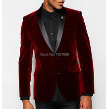 Burgundy Velvet Men Suits for Wedding Groom Tuexedos 2019 Winter Jacket Black Pants Two Piece Man Blazer