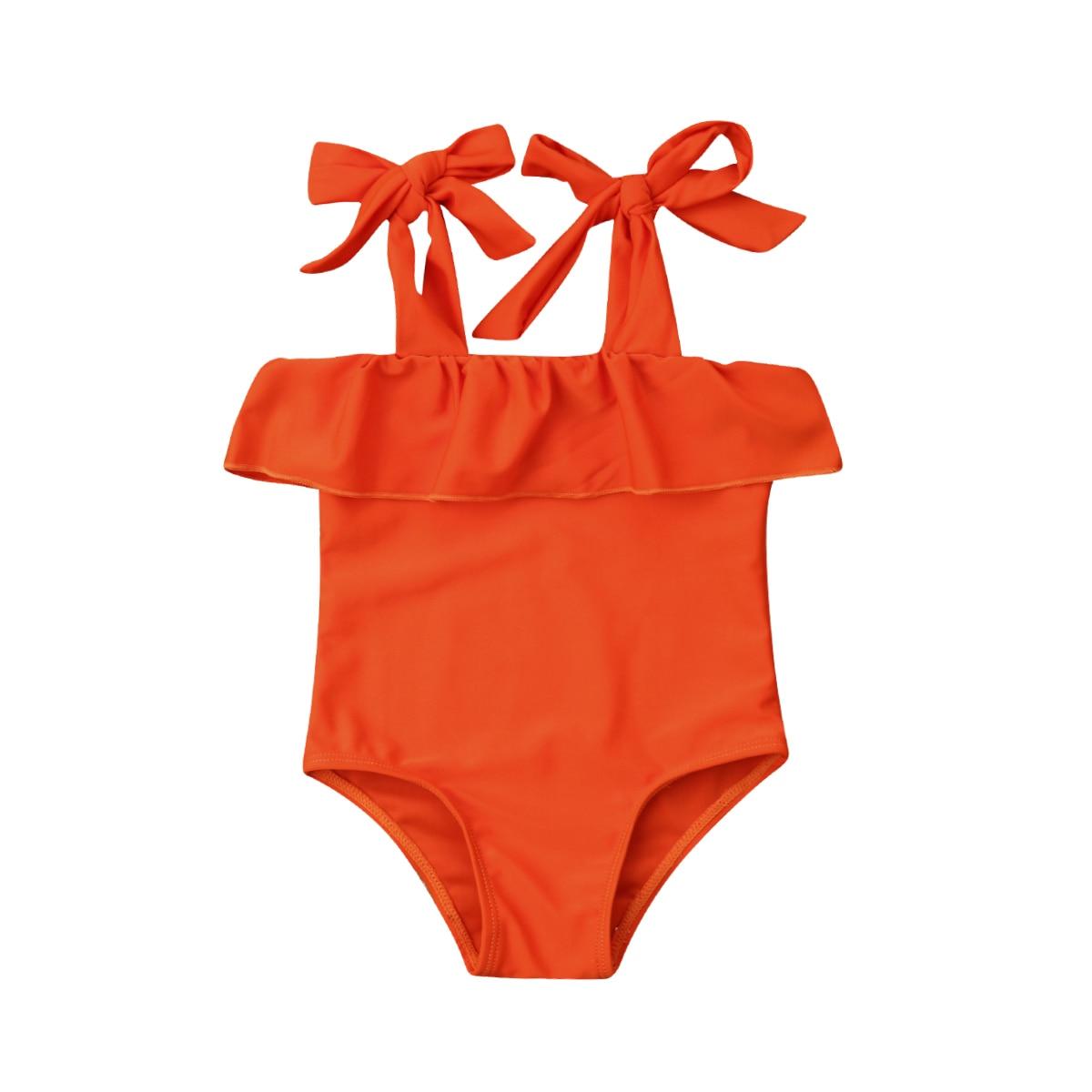 Little Girls Strap One-piece Swimsuit Newborn Kids Baby Girls Off-shoulder Orange Swimwear Swimsuits Beachwear Bathing Suit 0-5T