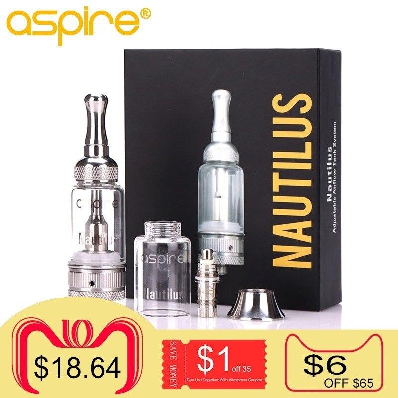 Cigarette électronique Aspire Nautilus (mini) réservoir 5 ml 2 ml MTL Vaporisateur Utiliser Nautilus BVC Bobine 1.8ohm 1.6ohm E Cig Vaporisateur Atomiseur