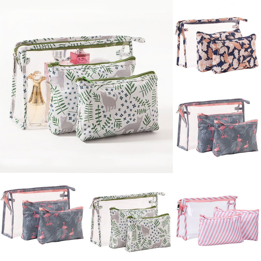 Pouch-Kits Makeup-Bag Toiletry Cosmetic Travel-Wash Handmade Nylon PVC 3PCS Pvc-Holder