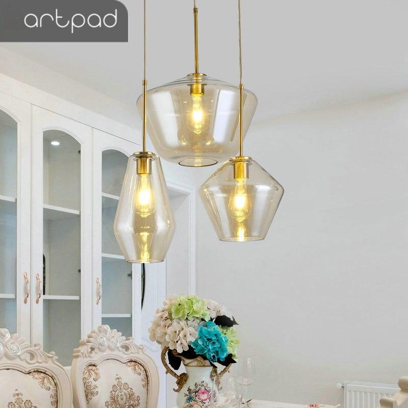 Nordic Modern Amber Clear Glass Pendant Lamp Bedroom Living Room Dining  Room Restaurant Kitchen LED Indoor Pendant Light Golden