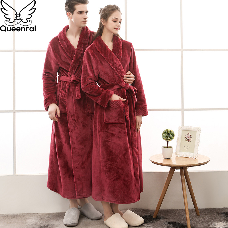 3eb2a1d1b31 Detail Feedback Questions about Queenral Man And Woman Robe Winter Long  Bathrobe Warm Flannel Satin Male And Female Robes Sleepwear Sexy Pajamas  Nightgown ...