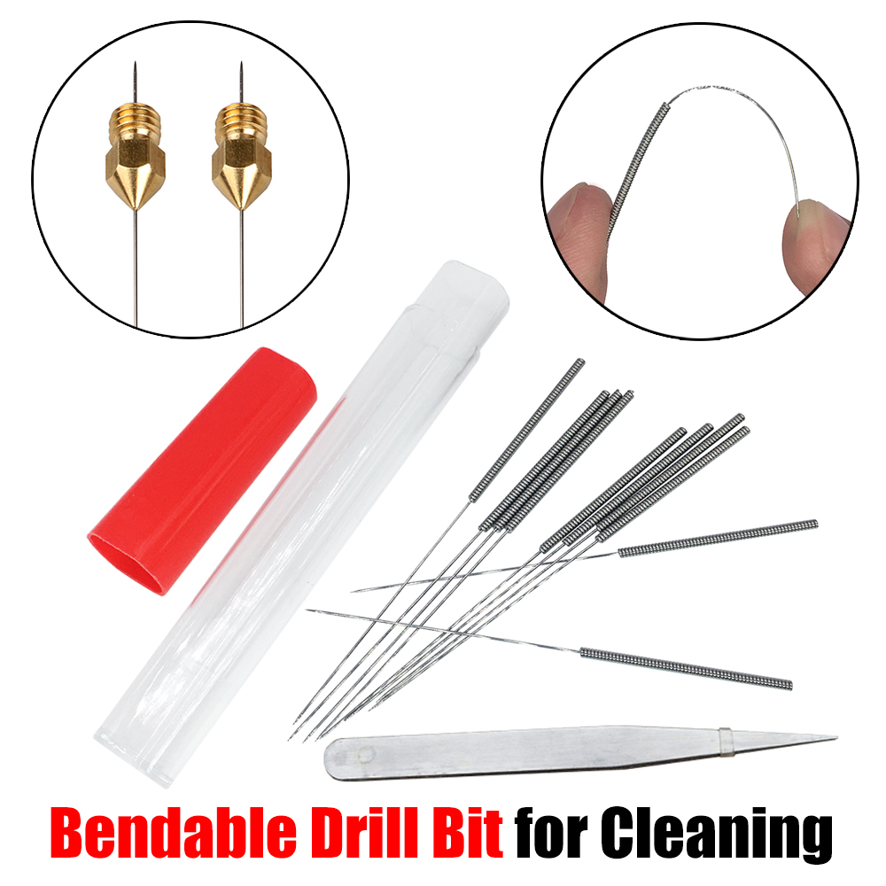 Free Shipping 3D Printer Parts Extruder Nozzle Cleaning Tool 10pcs Bendable Drill Bit For Cleaning 0.2mm 0.3mm 0.4mm Hotend