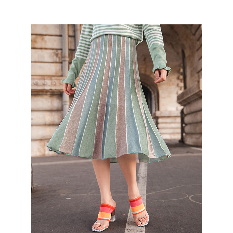 INMAN Spring High Waist Slim Literary Casual All Matched Fashion A-lineA Fairy Style Women Skirt
