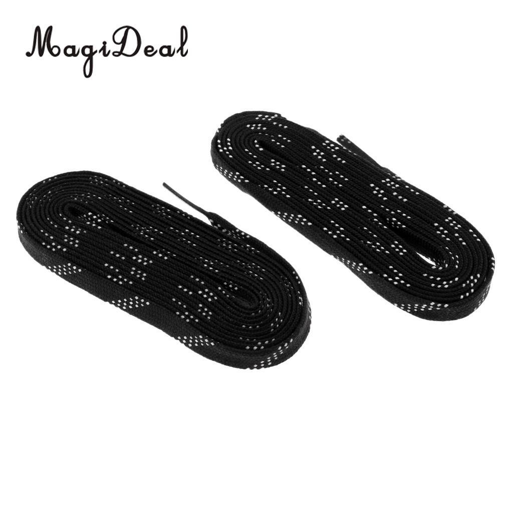 MagiDeal 1 Pair Adult Kids Non Skid Premium Sports Ice Hockey Skates Shoe Laces Shoelace 96/108/120 Inch Black Shoelaces