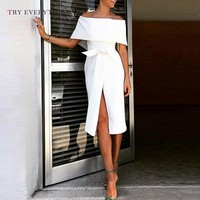 Elegant White Party Dress Women Summer 2019 Fashion Off Shoulder Sexy Dress Ladies Split Empire Waist Midi Dresses For Women 3XL