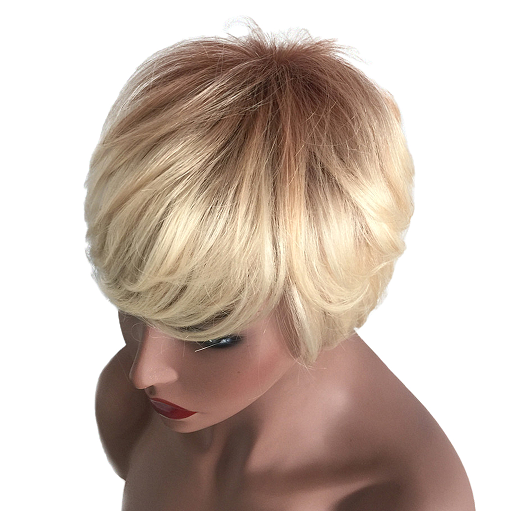 Natural Short Bob Wigs Human Hair Pixie Cut Wig for Women w/ Bangs 8 inch Brown стоимость