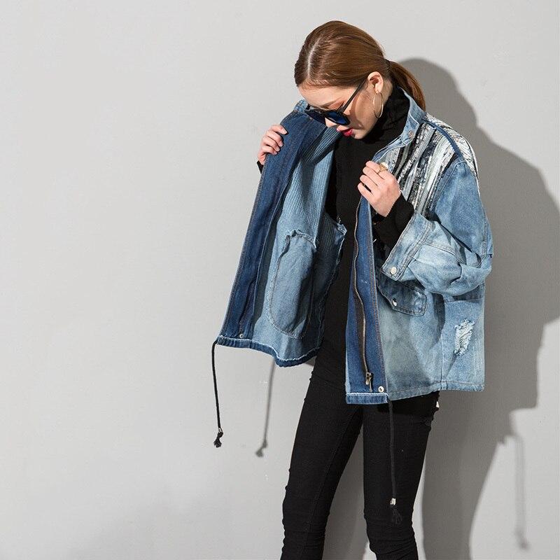 Longues Tout Manches eam Paillettes Femme Blue Marée Couture 2019 Jakcet Nouveau allumette Cowboy Printemps Manteau Mode Zipper Ds1105 Bleu 1Rqw71x